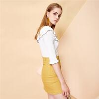 新款韩版荷叶边修身针织衫时尚纯色半袖小清新T恤上衣女
