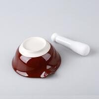 日式陶瓷研磨碗配磨棒捣蒜器胡椒磨粉碗婴儿辅食磨药碗碾磨器O 研磨碗+陶棒+刷+分离器