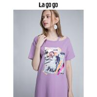 【5折价108】Lagogo/拉谷谷2018年夏季新款时尚贴布绣短袖连衣裙HALL315F46