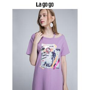 【清仓3折价89.7】Lagogo/拉谷谷2019年夏季新款时尚贴布绣短袖连衣裙HALL315F46