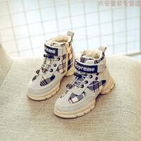儿童运动鞋2018冬季新款加绒棉鞋女童韩版高帮休闲鞋男童中大童潮