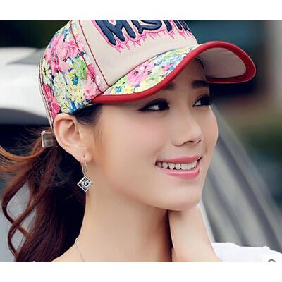 棒球帽女士 鸭舌帽韩版潮  夏印花蕾丝时尚休闲遮阳