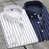 商务职业工装休闲男士条纹长袖衬衫韩版修身百搭衬衣大码