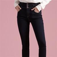 【满399减80】深色牛仔裤女新款韩版显瘦休闲裤高腰铅笔裤直筒长裤子