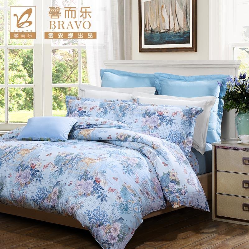 富安娜出品 馨而乐家纺 明艳清新 床上用品 40S斜纹纯棉印花四件套