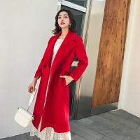 羊绒大衣女中长款秋冬修身高端红色郝本风双面羊毛呢外套 红色