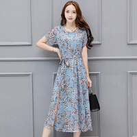 夏季新款女装韩版气质显瘦开叉雪纺裙子碎花印花长裙连衣裙女