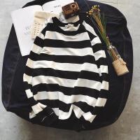 春季新款条纹圆领套头卫衣男生长袖T恤韩版上衣外穿外套潮流秋衣