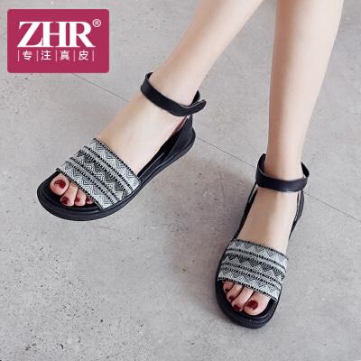 ZHR2018夏季新款波西米亚凉鞋平底沙滩鞋简约韩版鞋子厚底潮女鞋Z26