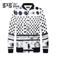 gxg.jeans男装秋季休闲黑底白花修身印花棒球服夹克外套63621035