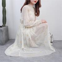 连衣裙冬季2018新款女中长款星星刺绣网纱仙女裙礼服裙两件套