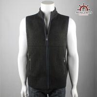 男装 羊毛衫 羊毛背心 立领拉链开衫 贴布针织男马甲