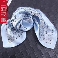 上海故事100%桑蚕丝真丝丝巾女百搭仙镜印花领巾多功能头巾小方巾
