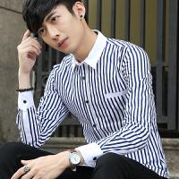 秋季男装长袖潮流衬衫时尚休闲青年修身寸衫学生条纹衬衣韩版