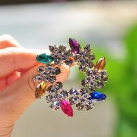 水晶胸针大衣西装配饰紫荆花朵饰品胸花别针花环插针