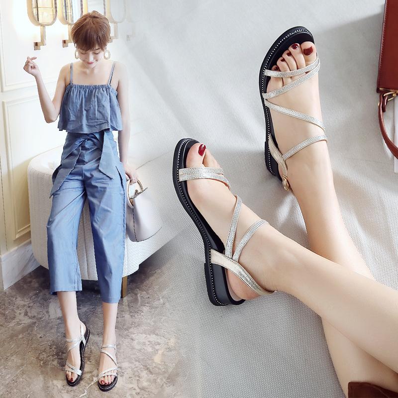 ZHR2018夏季新款韩版百搭女鞋平底简约罗马chic凉鞋学生软妹鞋子K65