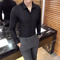 男士韩版修身纯色长袖衬衫英伦风时尚夜店发型师衬衣正装潮男