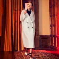 白色茧型水波纹羊绒大衣女中长款2017新款廓形加厚毛呢外套 白色