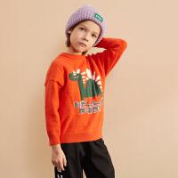【清仓限时抢:79】巴拉巴拉旗下巴帝巴帝男童毛衣19年冬中大童儿童卡通印花套头打底毛衫