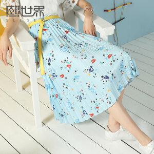 熙世界中长款韩版织带印花半身裙2018夏装新款百褶裙子女102LQ697