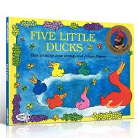 英文原版童谣绘本 Five Little Ducks 五只小鸭 儿童启蒙早教绘本故事书 平装 送音频 0-3-6岁 亲子读物 Raffi Songs to Read
