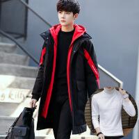 冬季男士棉衣韩版潮流中长款加厚外套羽绒大棉袄帅气冬天男装 +白色高领