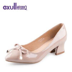 依思q春秋季新款尖头单鞋女镜面可爱蝴蝶结粗高跟女鞋-