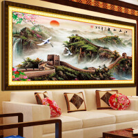 纯手工十字绣成品江山如画万里长城山水风景画满绣客厅装饰画