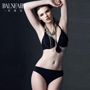 范德安黑色比基尼泳衣女 性感比基尼小胸聚拢钢托挂脖泳装