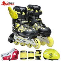 直排轮滑旱冰鞋 溜冰鞋儿童全套装 10-12岁男女初学者夜光