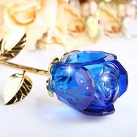 创意人造水晶玫瑰花摆件送女友老婆结婚纪念情人节生日礼物