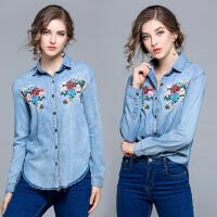 欧洲站开春新款花卉刺绣水洗渐变衬衣 大码休闲长袖牛仔衬衫外套