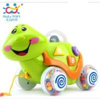 汇乐玩具716中英文五彩灯光玩具拖拉小绿龟中英双语语音学习车
