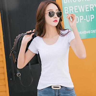 夏季新款竹节棉纯色修身半袖打底衫白t恤女短袖大码体恤上衣