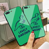 可爱小恐龙iPhone8plus手机壳苹果6s保护套硅胶全包边玻璃壳7绿色XS MAX创意定制x抖音ins网红男女情侣
