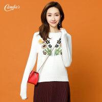 白色针织衫女2018冬季新款韩版时尚刺绣花修身显瘦套头长袖打底衫