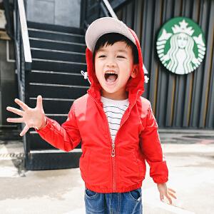 【尾品汇 129元3件】童装男童秋装2018新款儿童外套宝宝夹克衫