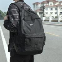 新款原创潮牌双肩包男背包时尚潮流学生书包日本街头大容量旅行包 黑色 1238现货