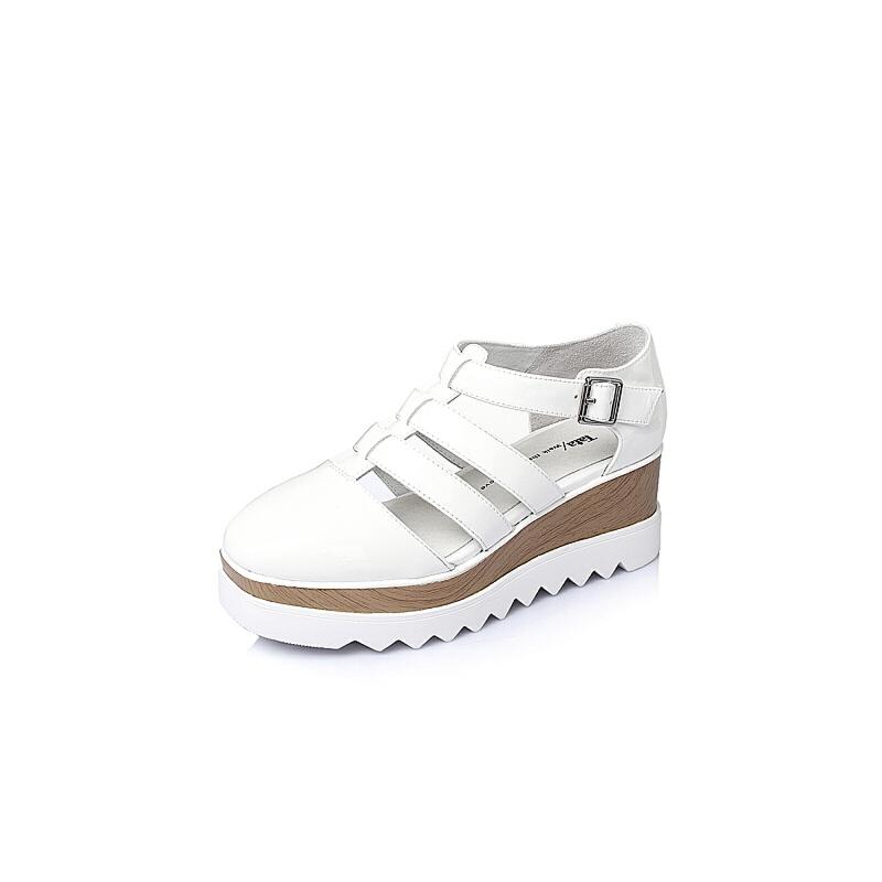 Tata/他她春季专柜同款漆牛皮革女凉鞋2LK01AK6