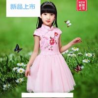 六一儿童旗袍夏季女童唐装短袖纯棉公主裙民族风小孩古筝演出服装