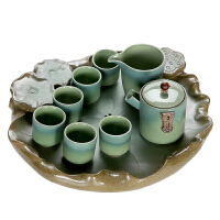 功夫茶盘陶瓷储水式茶具套装家用简约荷莲花小茶台托盘