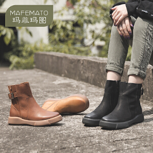 玛菲玛图欧美复古女靴休闲马丁靴短靴英伦风圆头平底短筒靴  季大码短靴009-28S