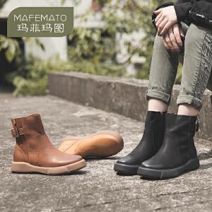 玛菲玛图秋冬欧美复古女靴休闲马丁靴短靴英伦风圆头平底短筒靴冬季大码短靴009-28SW