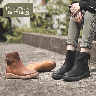 玛菲玛图欧美复古女靴休闲马丁靴短靴英伦风圆头平底短筒靴秋冬季大码短靴009-28S尾品汇 付款后3-5个工作日发货