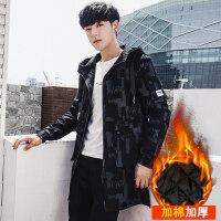 2018新款冬季风衣男韩版修身中长款加厚学生披风外套潮流帅气大衣