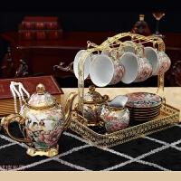 美式陶瓷摆件客厅酒柜创意家居装饰品欧式茶具套装摆设结婚礼物 16件套茶具摆件