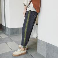 秋季牛仔裤男日系条纹休闲长裤青年修身小脚裤学生宽松哈伦裤