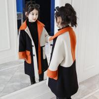 女童毛呢外套2018新款冬装加厚中长款韩版呢子大衣公主童装洋气潮