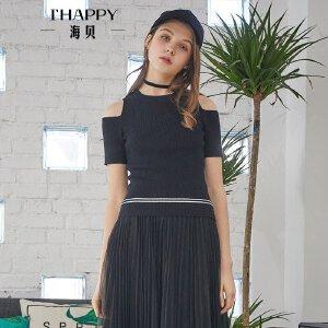 海贝2018春装新款女 纯色圆领挖肩露肩短袖修身套头针织衫打底衫