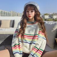 秋冬女装韩版新款宽松条纹套头长袖彩虹加厚短款毛衣外套学生女潮